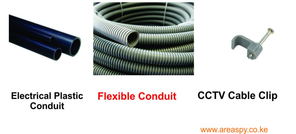 CCTV cable clips and conduits